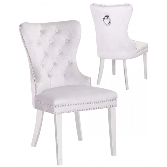 Oxford White Velvet Dining Chairs In Pair