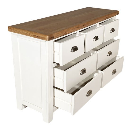 Oxford Wide Chest Of Drawers In White And Oak With 7 Drawers_3