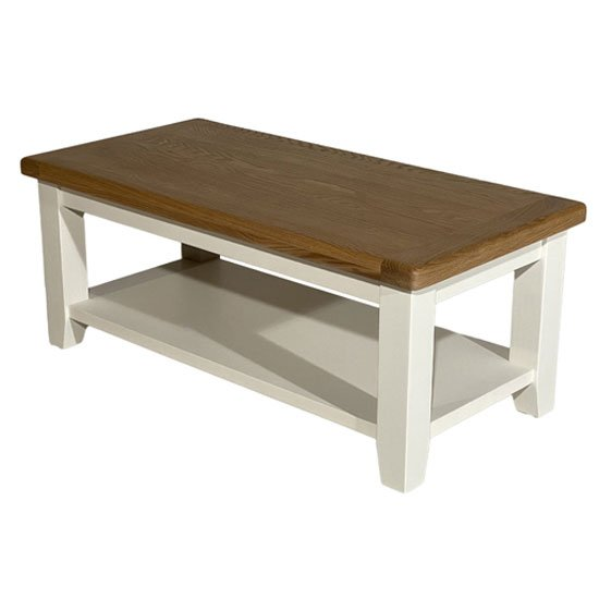 View Oxford wooden coffee table in white and oak