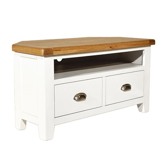 View Oxford wooden corner tv unit in white and oak