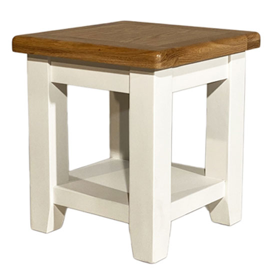 Oxford Wooden End Table In White And Oak