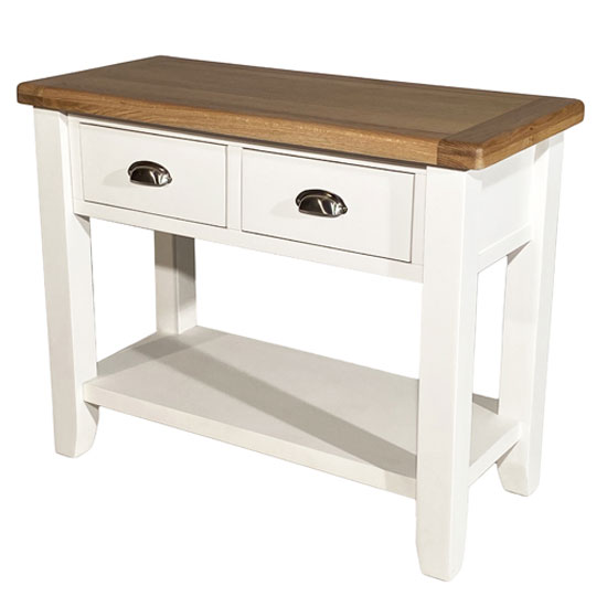 Oxford Wooden Large Console Table In White And Oak