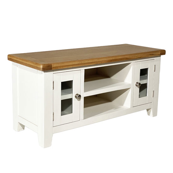 View Oxford wooden large tv unit in white and oak