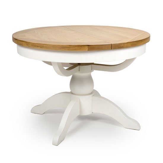 Oxford Wooden Round Extending Dining Table In White And Oak Furniture In Fashion