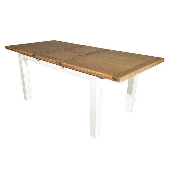 Oxford Wooden Small Extending Dining Table In White And Oak