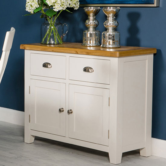 View Oxford wooden small sideboard in white and oak