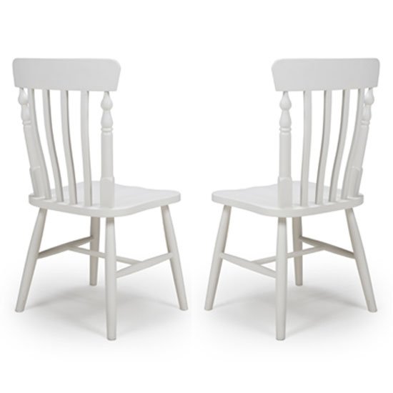 Oxford Wooden White Slat Back Dining Chairs In A Pair_1