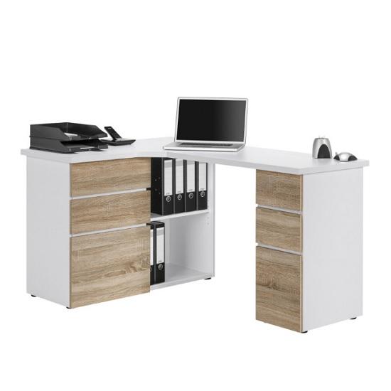 Oxford Corner Computer Desk In Ice White And Sonoma Oak