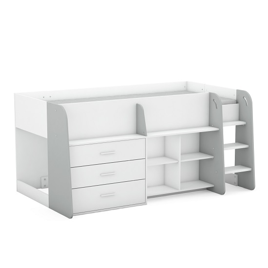 Oxley Wooden Childrens Bed In Matt White And Light Grey