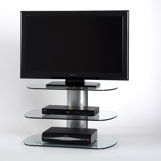 Oyster Glass TV Stand Small In Clear With Silver Column_2