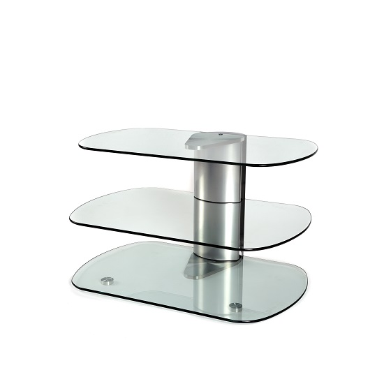 Oyster Glass TV Stand Small In Clear With Silver Column_7