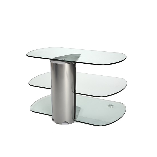 Oyster Glass TV Stand Small In Clear With Silver Column_3