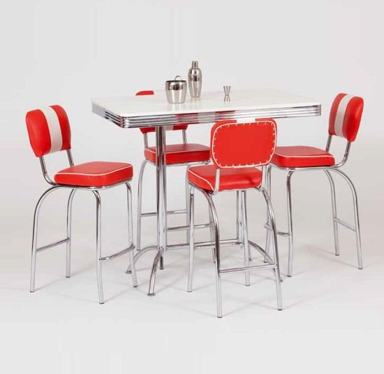 King Retro Bar Tall Table Rectangle In White And Chrome Top