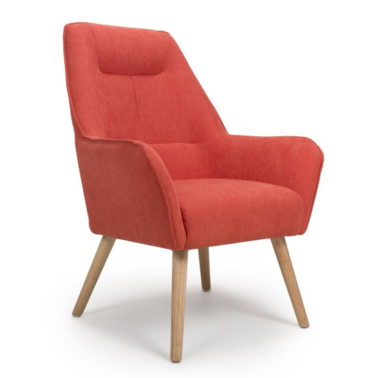 Pacific Chenille Effect Accent Chair In Brick Orange