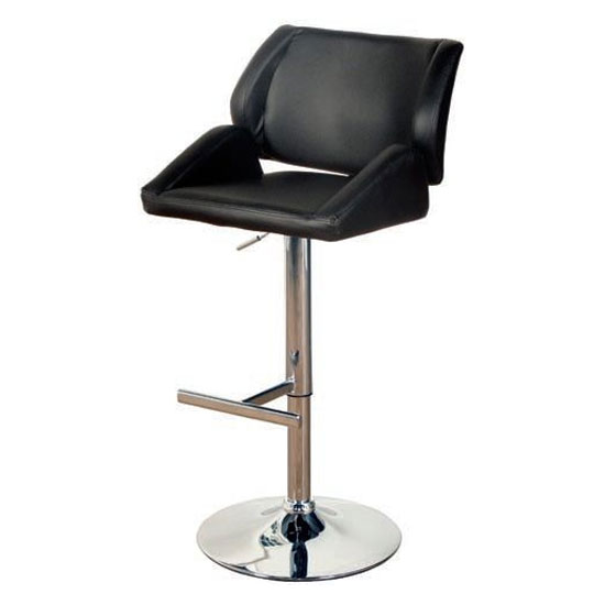 Pacific Faux Leather Bar Stool In Black With Chrome Base_1