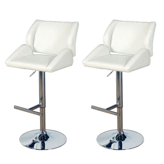 Pacific Milk Faux Leather Bar Stool In Pair With Chrome Base