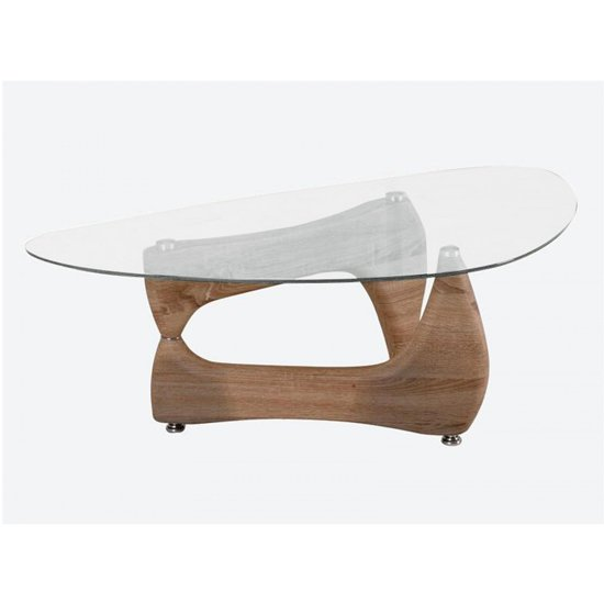 Paco Clear Glass Coffee Table With Natural Base