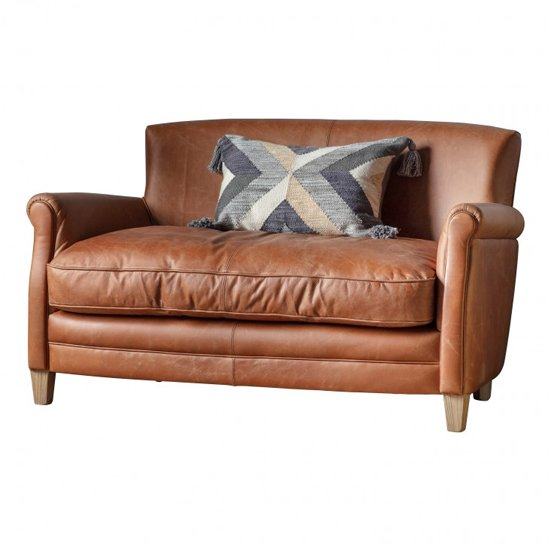 Padston Faux Leather 2 Seater Sofa In Vintage Brown