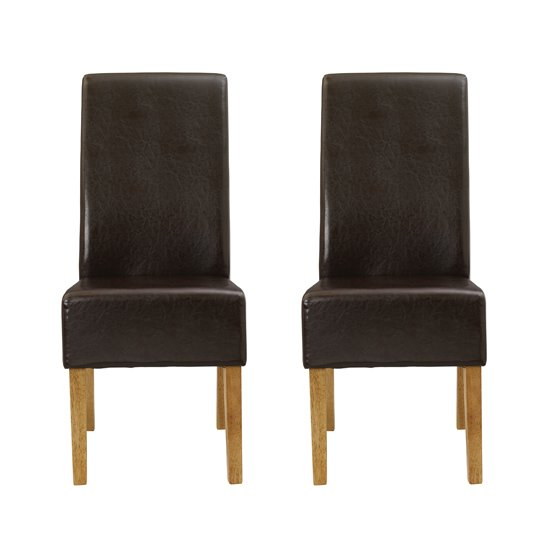 Padstow Brown Finish Dining Chairs In Pair
