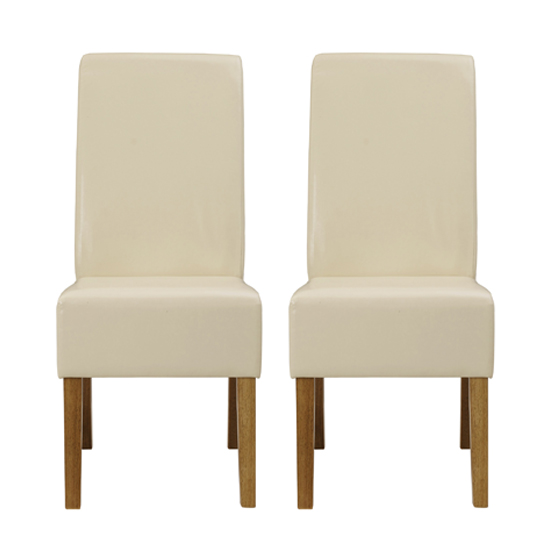 Padstow Cream Finish Dining Chairs In Pair
