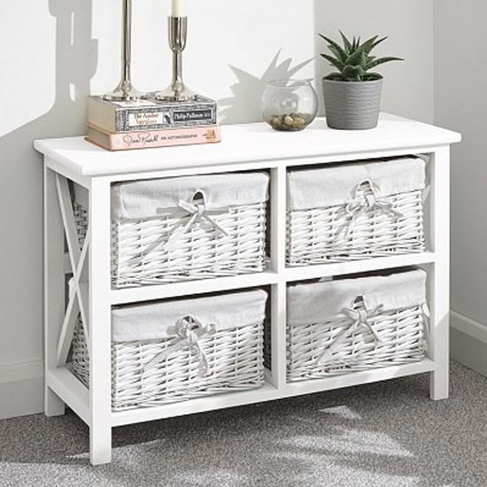 Padstow Low Wooden Chest Of Drawers In White With 4 Drawers