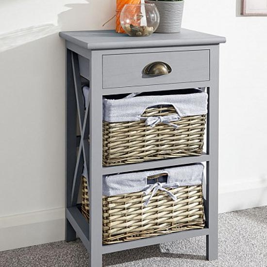 Padstow Wooden Chest Of Drawers In Grey With 3 Drawers