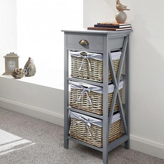 Padstow Wooden Chest Of Drawers In Grey With 4 Drawers