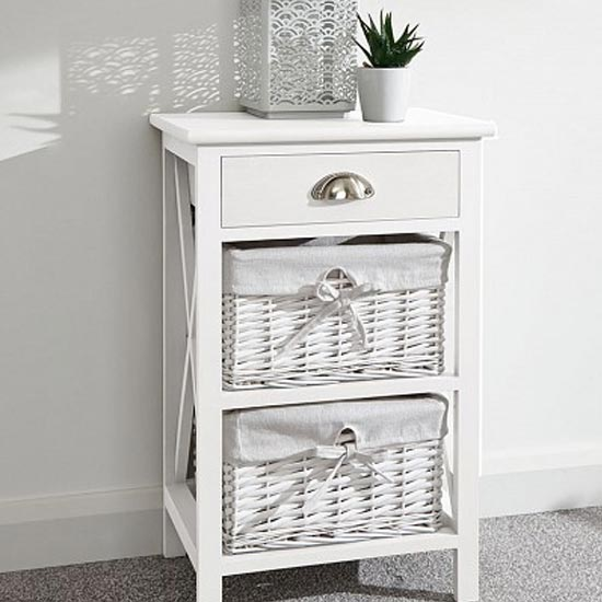 Padstow Wooden Chest Of Drawers In White With 3 Drawers_1
