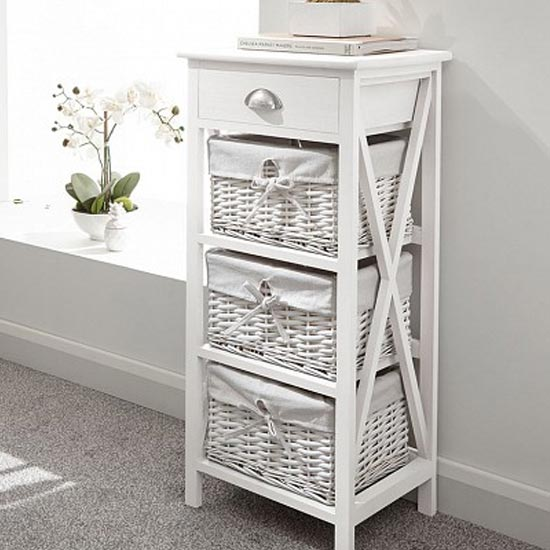 Padstow Wooden Chest Of Drawers In White With 4 Drawers