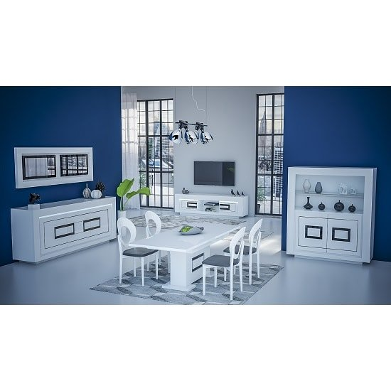 Padua Extending Large Dining Table In High Gloss White And Black_5