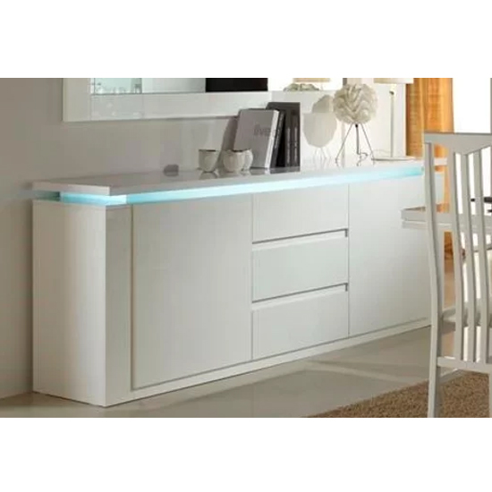 Padua LED Sideboard In White High Gloss With 2 Doors 3 Drawer