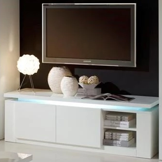 Padua LED TV Stand In White High Gloss With 2 Doors