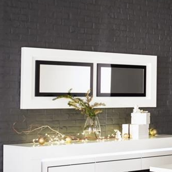 Padua Wall Bedroom Mirror In High Gloss White And Black