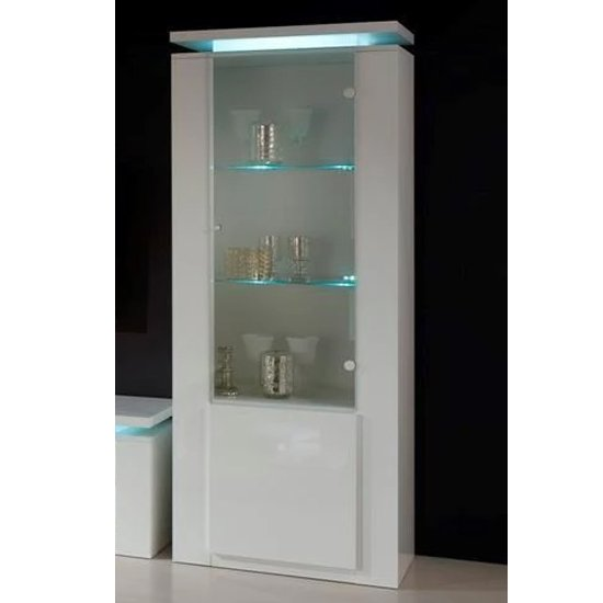Padua Wooden 2 Doors Display Cabinet In White Gloss With LED