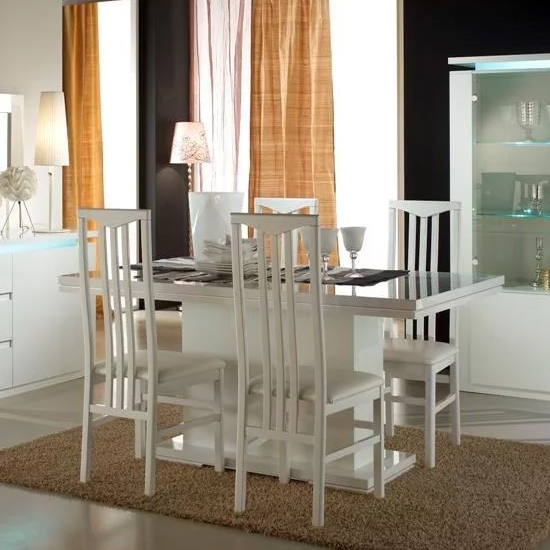 Padua Wooden Dining Table In White High Gloss