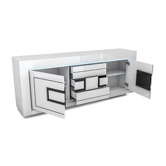 Padua Wooden LED Sideboard In High Gloss White And Black_3