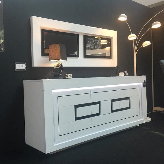 Padua Wooden LED Sideboard In High Gloss White And Black_1