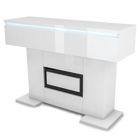 Padua Wooden Console Table In Glossy White And Black With LED