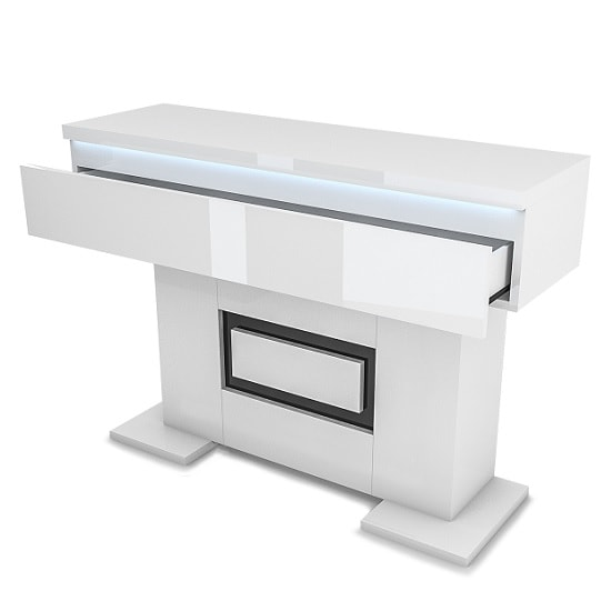 White Gloss Led Furniture: Padua Wooden Console Table In Glossy White And Black With