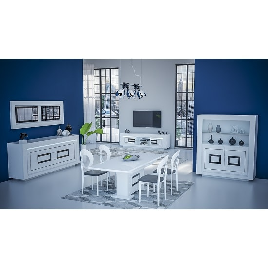 Padua Extendable Large Dining Table In Glossy White And Black_5