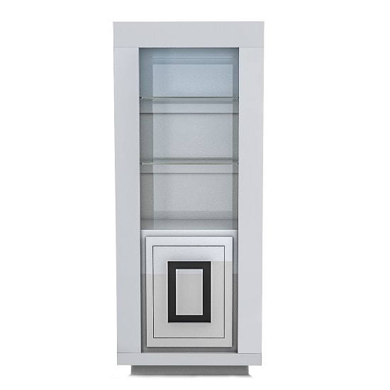 Padua Display Cabinet In Glossy White And Black With LED_3