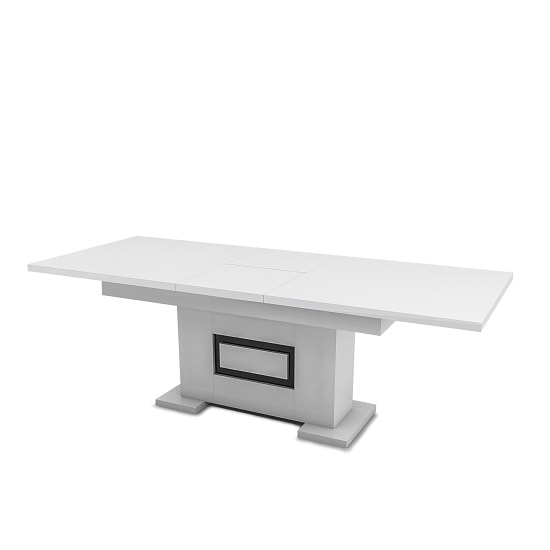 Padua Extendable Dining Table In Glossy White And Black
