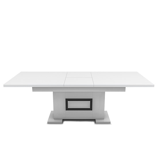 Padua Extendable Large Dining Table In Glossy White And Black_4