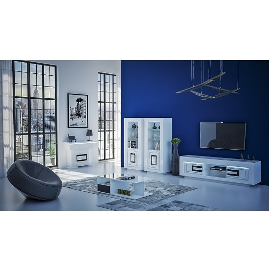 Padua Display Cabinet In Glossy White And Black With LED_4
