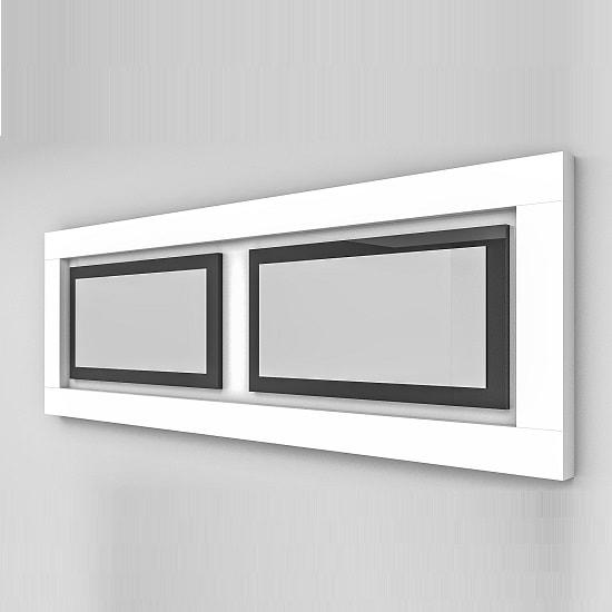 Padua Wall Mirror Rectangular In Glossy White And Black Inserts