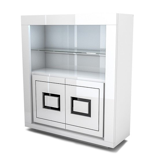 Padua Wooden Display Cabinet In Glossy White And Black With LED