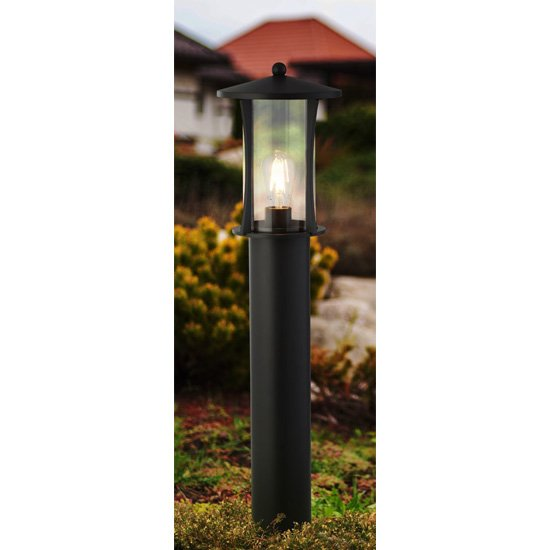 Pagoda Outdoor Post Light In Black With Clear Glass