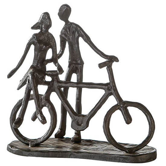 View Pair on bike iron design sculpture in burnished bronze