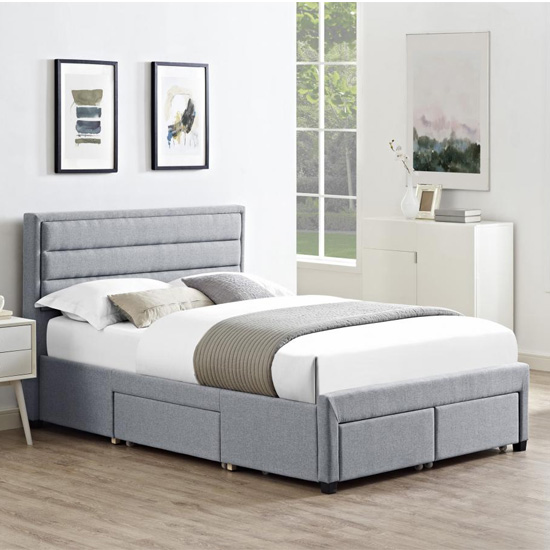 Paisley Linen Fabric King Size Bed In Grey With 4 Drawers