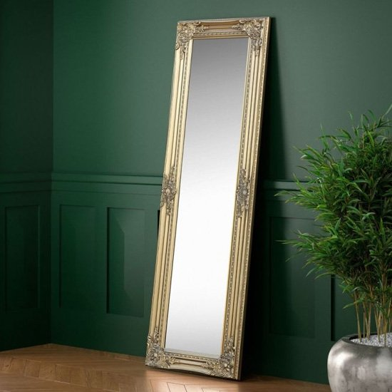 Palais Dressing Mirror In Golden Wooden Frame